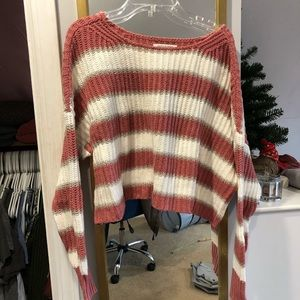 American Eagle Pink & White Striped Sweater